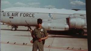 You can see part of the painted red line around this KC-135 tanker (the airman in the pic is not me).