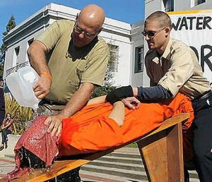 Hmm.. public waterboarding.  Interesting. (actually this was a demonstration)