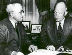 At the White House, President Harry S. Truman (left) and President-Elect Dwight D. Eisenhower on November 19, 1952, discuss the upcoming transfer of power. Biographer Stephen E. Ambrose described the meeting as 'stiff, formal, embarrassing, and unrewarding'.