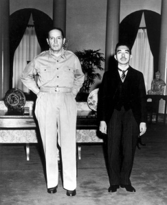 Famous MacArthur/Hirohito photo where the general asked the Emperor to pay him a visit.