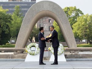 Obama and Abe's visit at Hiroshima Memorial