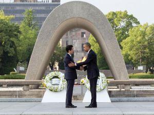 Obama and Abe's visit at Hiroshima Memorial