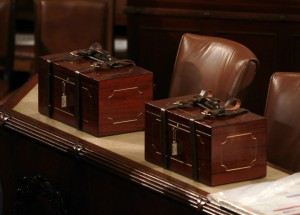 Boxes containing the votes for the 2012 presidential election is seen during a joint session of Congress in Washington. (Reuters)