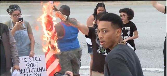Burning the flag because Black Lives Matter?? WTF?