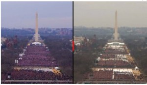 Obama's crowd in 2009 on the left; Trump's yesterday crowd on right.