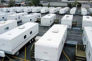 Typical FEMA trailers waiting for the next emergency.