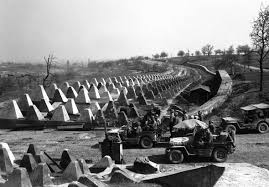 Germany's Siegfried Line.  Notice the American soldiers going right through it.
